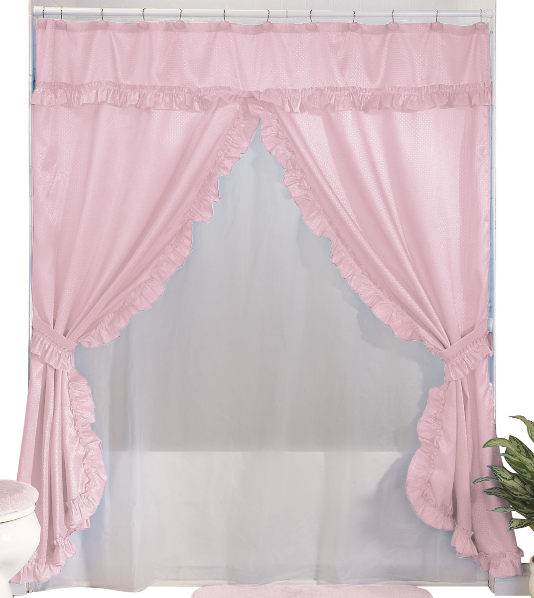Double Swag Shower Curtain Rose