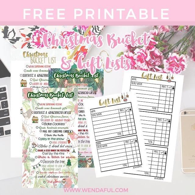 christmas bucket gift list planner inserts wendaful planning