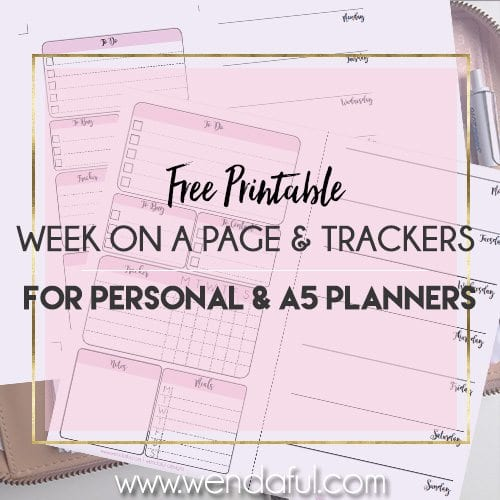 Free Planner Inserts Week On A Page With Trackers Wendaful Planning