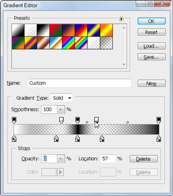 Assigning varying amounts of opacity using the stops on top of the gradient slider.