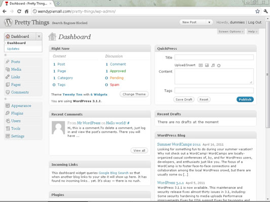 The WordPress blogging platform Dashboard.