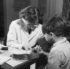 A nurse takes a blood sample from a boy at the Indian School, Port Alberni, B.C., in 1948, during the time when nutritional experiments were being conducted on students there and five other residential schools. THE CANADIAN PRESS/ho-Library and Archives Canada