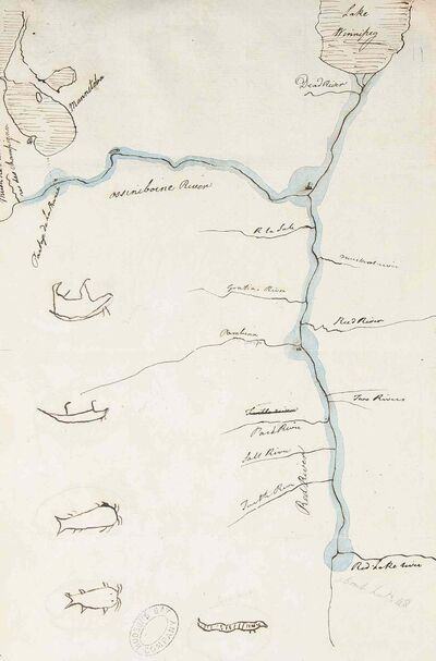 The map accompanying the Selkirk Treaty. (Archives of Manitoba)