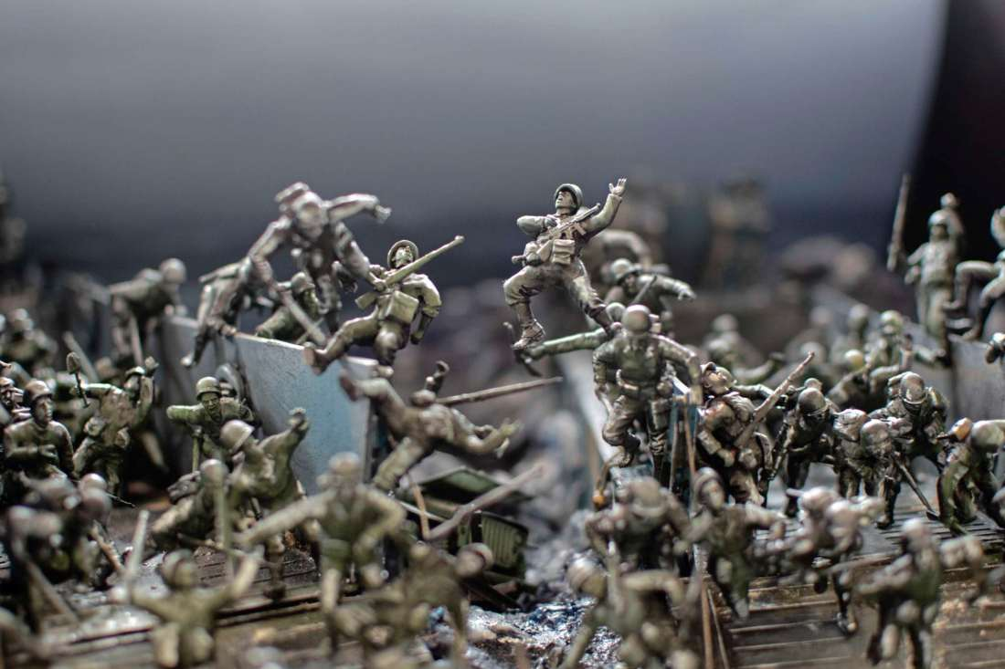A close-up of the model Darryl Audette is working on for the upcoming ValourCon scale model contest at the St. James Legion on April 26 and 27. D-Day is the theme of this year's event and Audette's diorama depicts dozens of soldiers spilling out of landing crafts onto the beaches of Normandy.