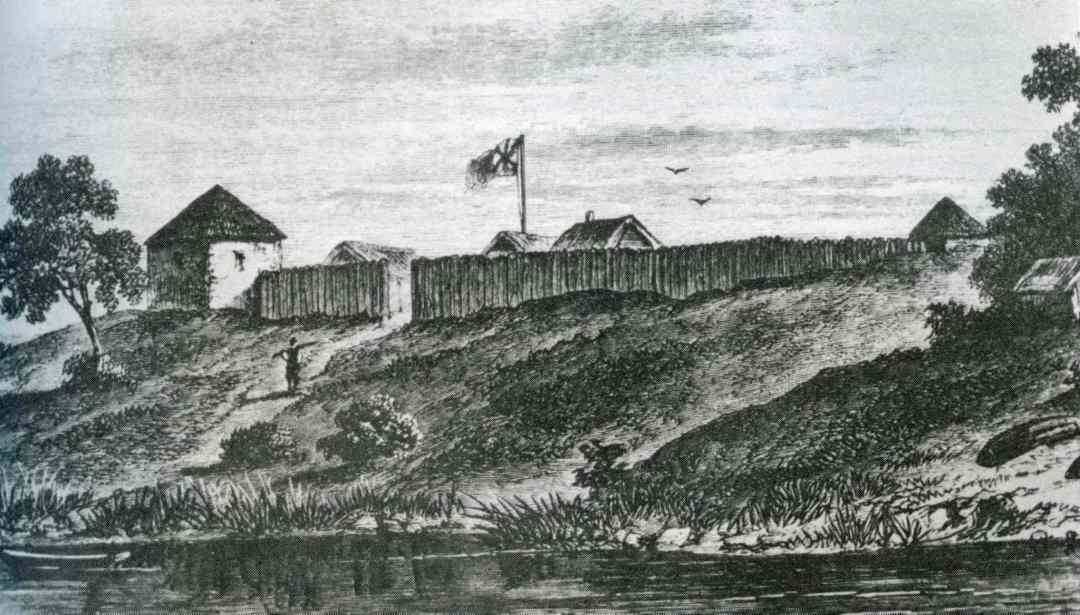 An 1817 sketch of Fort Douglas. (Archives of Manitoba)