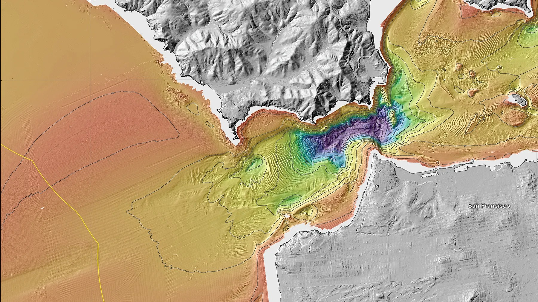 New Maps Reveal California s Sensational Seafloor Geography   WIRED The topography of the ocean floor in the Golden Gate area of the San  Francisco Bay   full map in high res