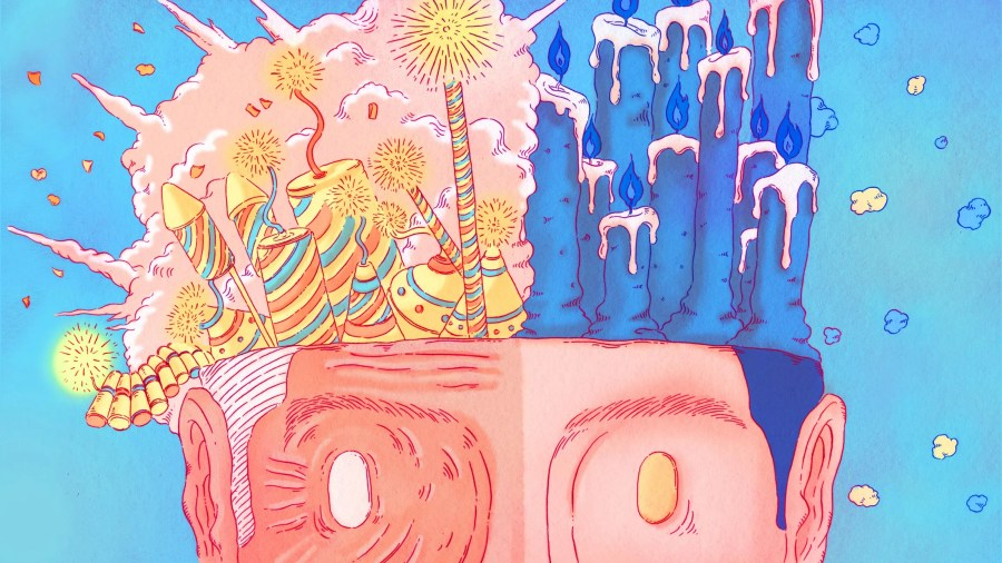 a man with no skull but candles and fireworks emerging from its head