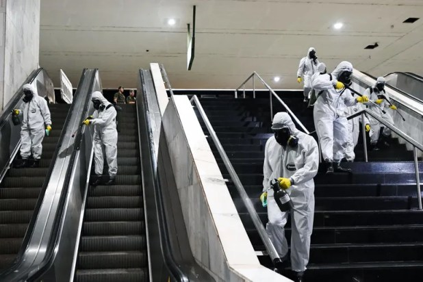 Sweeper cleaning the stairs