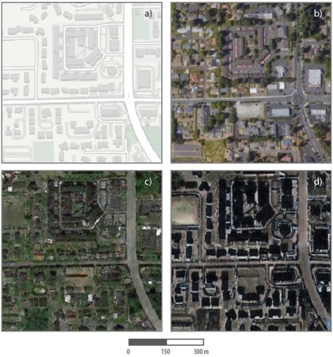 Fake satellite images of a neighborhood in Tacoma with landscape features of other cities