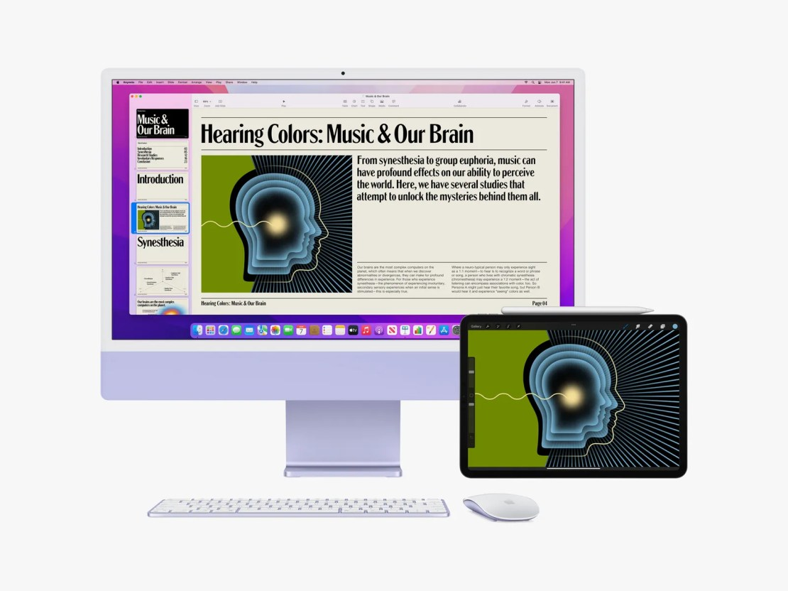 Apple iMac and iPad showing new features