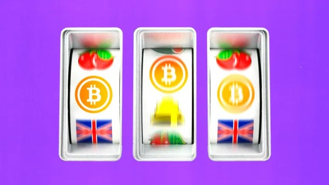 Illustration of slot machine screens with cryptocurrency symbol