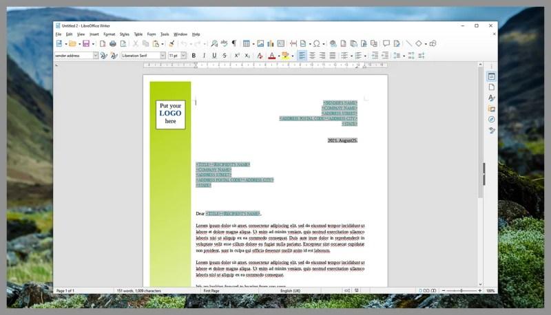 Schermata di LibreOffice