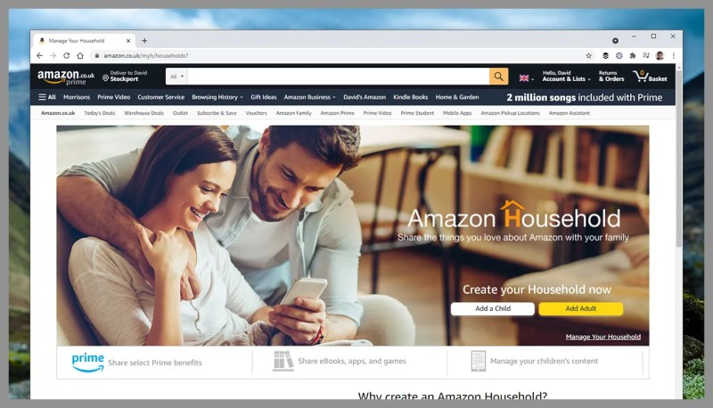 Schermata di Amazon Household