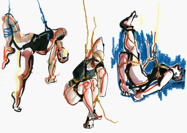 drawing of 3 figures tied up