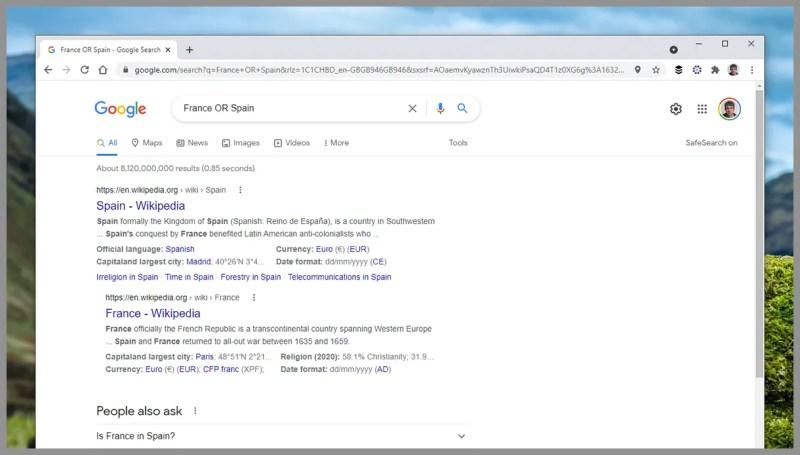 Schermata di Google