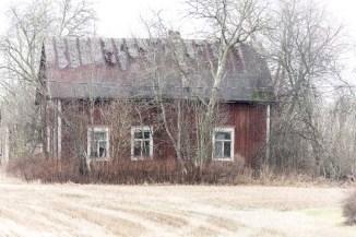 Ödehus med spåntaket täckt med plast.