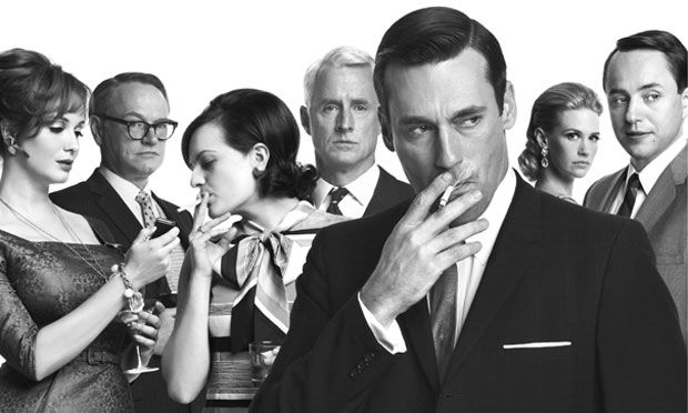 Joan Harris, Lane Pryce, Peggy Olson, Roger Sterling, Don Draper, Betty Francis and Pete Campbell in the AMC series 'Mad Men.'