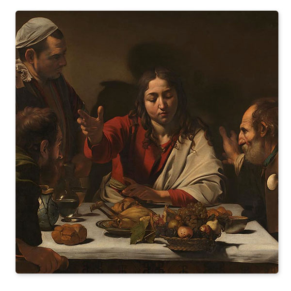 Detail from Michelangelo Merisi da Caravaggio, 'The Supper at Emmaus', 1601 © The National Gallery, London