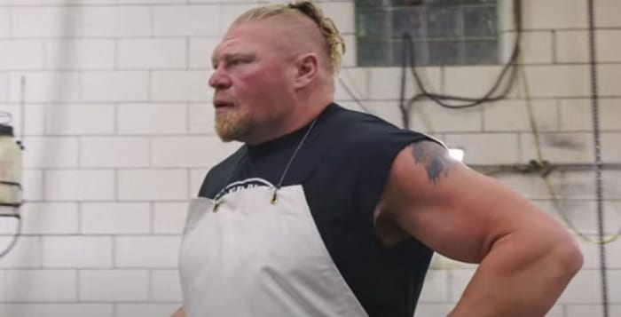 WATCH: Brock Lesnar Looks VERY Different While Carving Meat
