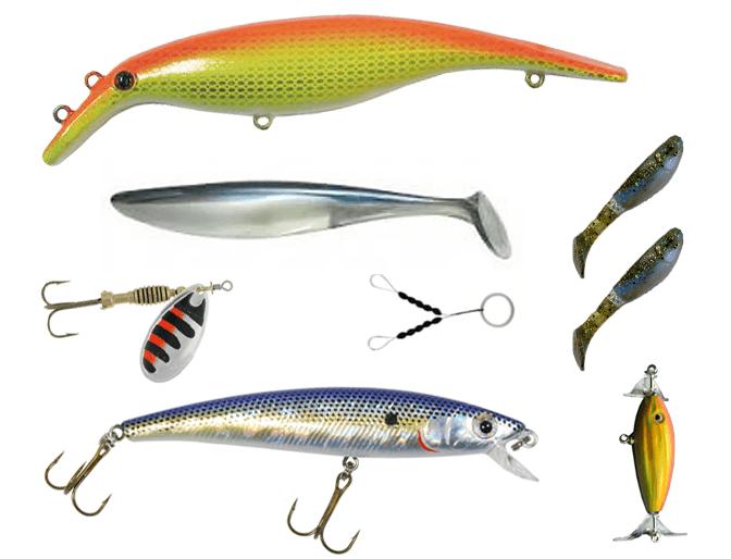 big eye minnow x-sardine, swim whizz, gummipärlor, sppraken ytbete och relaxjiggar. samt swim whizz jigg