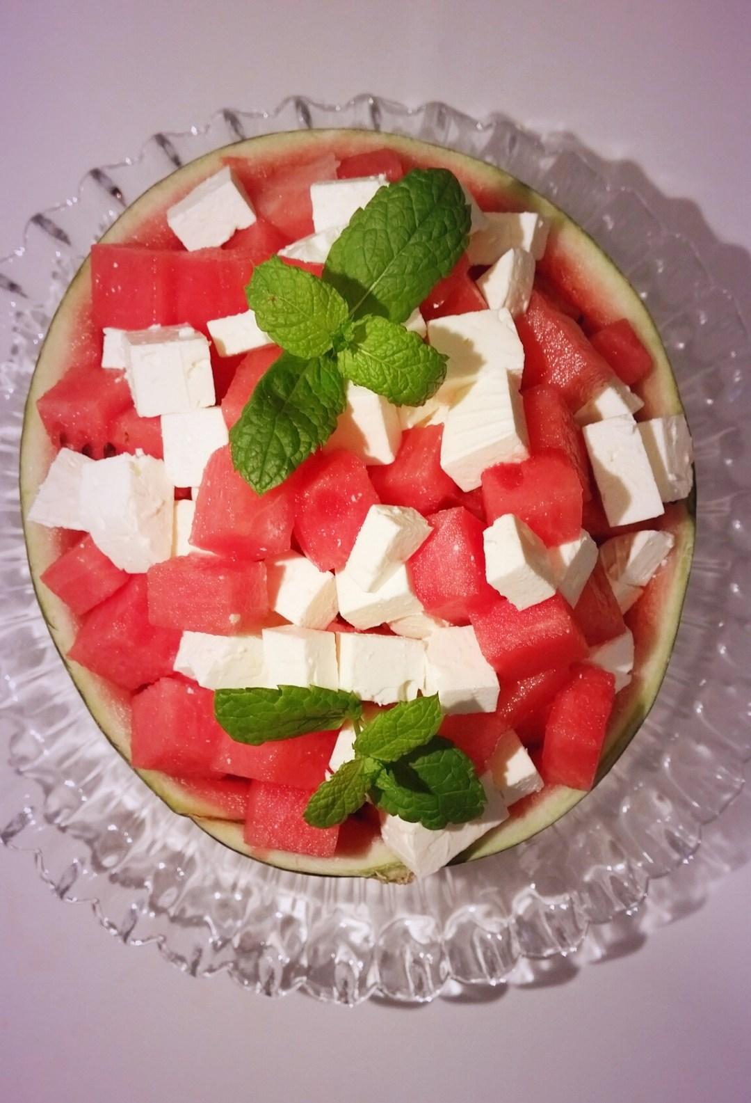 vattenmelon med fetaost