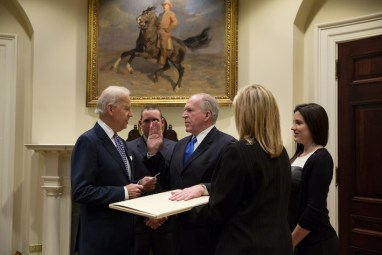 Vice President Joe Biden swears in CIA Director John Brennan at the White House, March 8, 2013. (David Lienemann/Official White House photo)