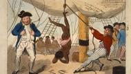 Die Radierung von Isaac Cruikshank zeigt die Bestrafung eines Sklaven.