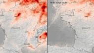 Links: Die Stickoxidkonzentrationen über Frankreich im März vergangenen Jahres. Rechts: Die gleiche Situation im Zeitraum vom 14. bis 25. März 2020, wieder gemessen mit Hilfe des Satelliten Copernicus Sentinel-5P