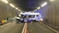 Blick auf die Unfallstelle im Gotthard-Tunnel