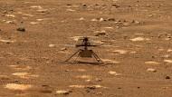 """Der Hubschrauber """"Ingenuity"""" am 7. April auf dem Mars auf einem von der Nasa zur Verfügung gestellten Foto."""