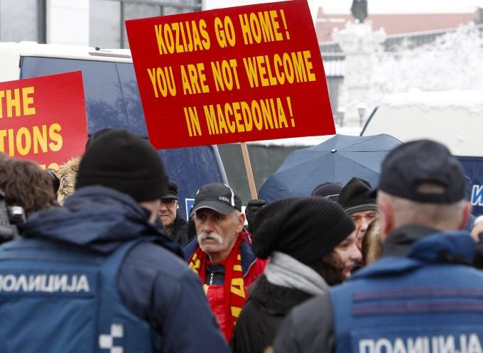 Demonstranten in der mazedonischen Hauptstadt Skopje wenden sich im Namensstreit gegen Griechenland.