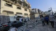 """Das zerstörte Haus von Abu al Ata, dem Kommandeur der nördlichen Division des """"Palästinensischen Islamischen Dschihads"""" (PIJ)"""