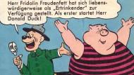 Querstreifen machen dick? Fridolin Freudenfett – hier im Nachdruck von 1969 – fühlt sich sichtlich sauwohl in seiner rosigen Haut.