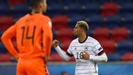 Jubel bei Deutschlands Stürmer Lukas Nmecha über sein 1:1-Ausgleich gegen die Niederland.