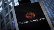 Das Logo von Thomson Reuters an der Niederlassung am Times Square
