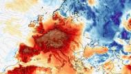 Jahrhundert-Juni: Am Samstag den 29.6.2019 könnte Europa laut einer Modellrechnung so aussehen. Gezeigt sind die Abweichungen der Tageshöchsttemperaturen zum Durchschnitt der Werte am 29.6. der Jahre 1981 bis 2010.