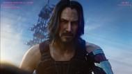 """Mit Händchen fürs Grobe: Rockstar Johnny Silverhand, dem der Schauspieler Keanu Reeves in """"Cyberpunk 2077"""" das Gesicht leiht, kann auch rauhe Töne anschlagen."""