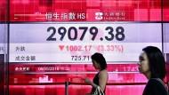 Im Minus: Kurstafel mit dem Aktienindex Hang Seng