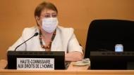 Michelle Bachelet, die Hohe Kommissarin der UN für Menschenrechte, während der Eröffnung des UN-Menschenrechtsgipfels in Genfs.