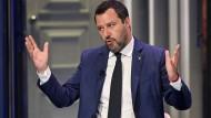 Der Parteivorsitzende der Lega, Matteo Salvini, im Juni in einer italienischen Fernsehsendung.