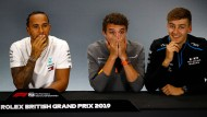 Present and future: World Champion Lewis Hamilton with his compatriots Lando Norris and George Russell (from left)