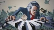 Ein Graffito in Beethovens Heimatstadt Bonn zeigt den nimmermüden Komponisten bei der Arbeit am Klavier.
