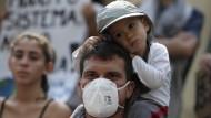 Auf einer Klimademonstration in Rio de Janeiro