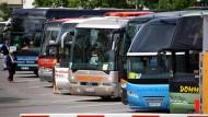 Bild aus besseren Zeiten: Reisebusse auf einem Parkplatz in Schwerin
