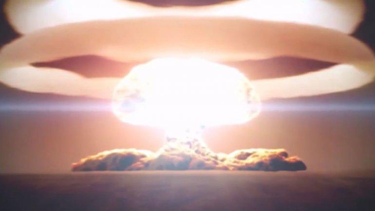 Simulación del estallido de la bomba del Zar detonada por la Unión Soviética en 1961