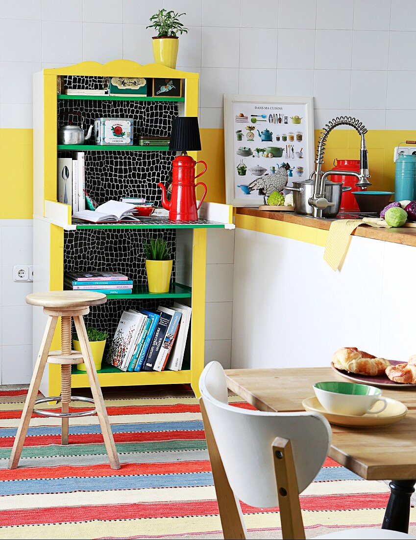 https www living4media com images 11443699 upcycled kitchen shelves with small table made from vintage baby changing cabinet