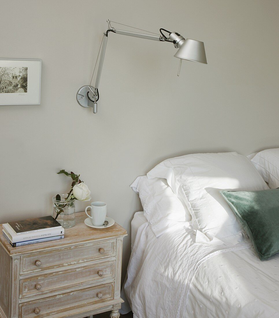 https www living4media ae images 11368465 tolomeo wall lamp and shabby chic bedside cabinet next to double bed