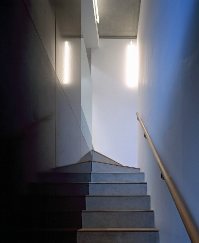 Narrow Staircase With Black Stone Tiled … – Buy Image – 11004887 | Handrail For Narrow Staircase | Exterior | Self Standing Narrow | Free Standing | Victorian | Small Staircase