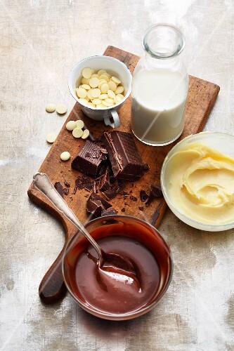 Homemade dark and white chocolate ganache to fill layered cakes