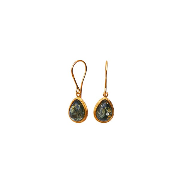 Gold-plated earrings with green Baltic amber